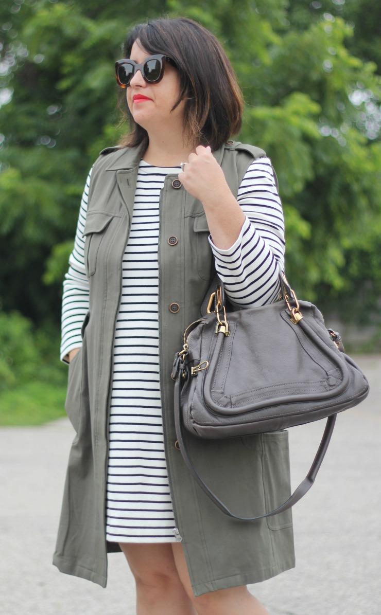 stripe dress military green vest