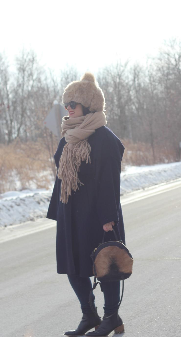 big faux fur zara hat